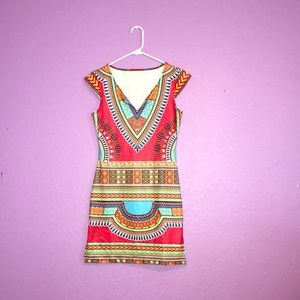 Stretchy tribal design short red polyester dress👗